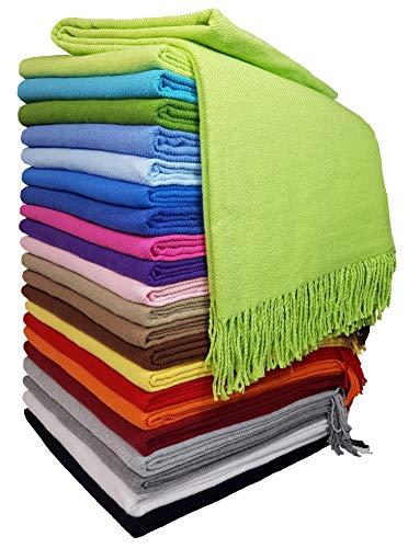 Baumwolldecke Wohndecke Kuscheldecke Tagesdecke 100% Baumwolle 130 x 170 cm sehr weiches Plaid Rio Hellgrün