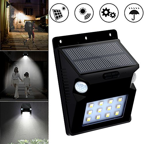Ywoow Solar Light, New LED Solar Power PIR Motion Sensor Wall Light Garden Waterproof Lamp,Double Induction Solar Garden Light Black