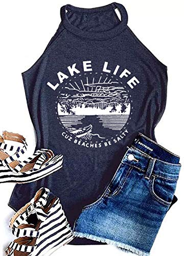 MAOGUYUN Lake Life Tank Summer The Lake is My Happy Place Tank Tops for Women High Neck Casual Letters Print Shirt Tees (Navy Blue, S)
