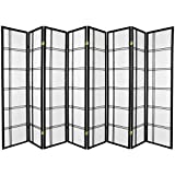Oriental Furniture 6 ft. Tall Double Cross Shoji Screen - Black - 8 Panels