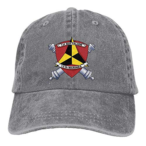 1st Battalion, 12th Marines Decal Stiker Vintage Adjustable Cowboy Hat Baseball Cap for Man and Woman Net red 3989