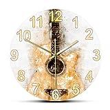 hufeng Reloj de Pared Acuarela Guitarra acústica Reloj de Pared Impresión de Arte Musical Colgante Reloj de Pared silencioso Guitarra clásica Decoración de Sala de música Guitarrista Regalo