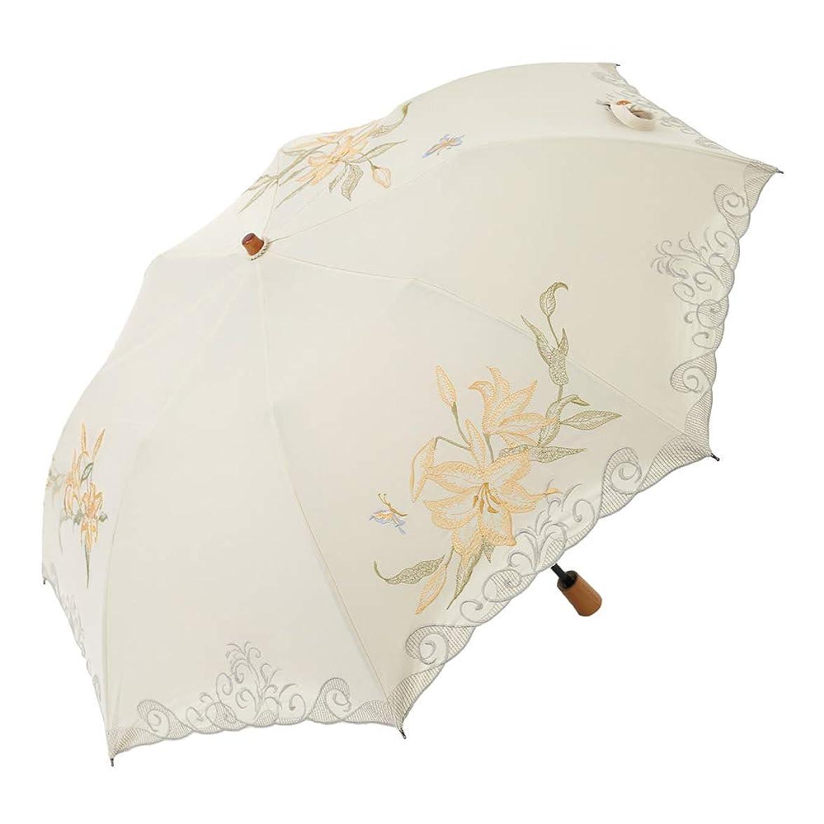 気性葉っぱ強制的日傘 女優日傘 百合刺繍 ショート 折りたたみ 日傘 完全遮光 遮熱 UVカット かわず張り 涼しい 晴雨兼用傘 特殊2重張り 百合 刺繍
