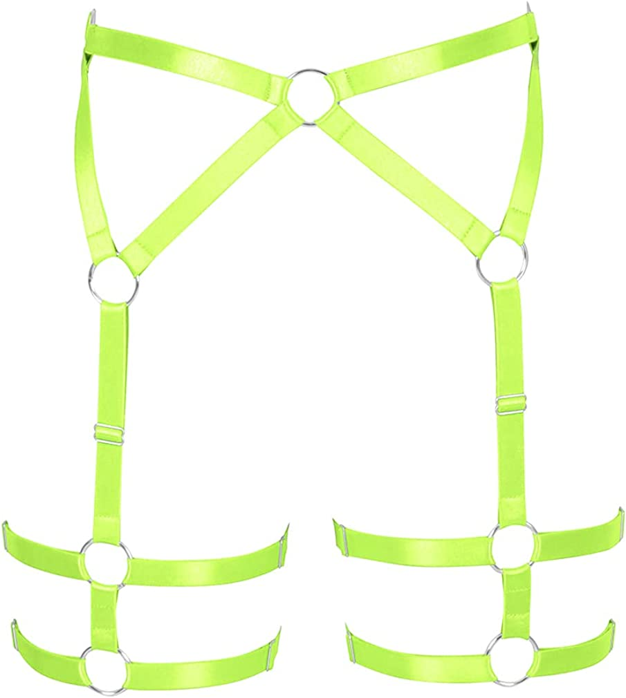 Women's Body Harness Garter Belt Lingerie cage Leg Strap Punk Gothic Adjustable Size Stretchy Fabric Festival Rave