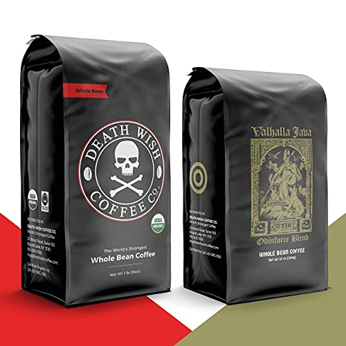 DEATH WISH Coffee - The World's Strongest Coffee [1 lb] and VALHALLA JAVA Odinforce Blend [12 oz] Whole Bean Coffee in a Bundle/Bulk/Gift Set   USDA Certified Organic   Arabica and Robusta Beans
