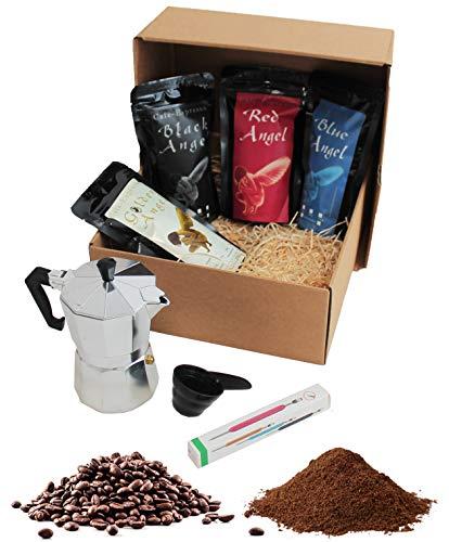 Kaffee Geschenkset mit 4 Sorten Premium Espresso Angel (ganze Bohnen), Espressokocher und Latte Pen plus Gratis Kaffeemaß im Geschenkkarton | Länderkaffee Geschenk Set