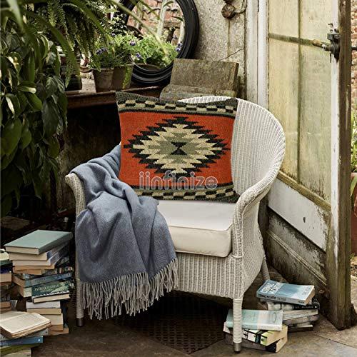 iinfinize Funda de cojín de lana de yute de 45,72 cm, cojín cuadrado Kilim, almohada para sofá, dormitorio, cama, almohada hecha a mano, funda de cojín de yute