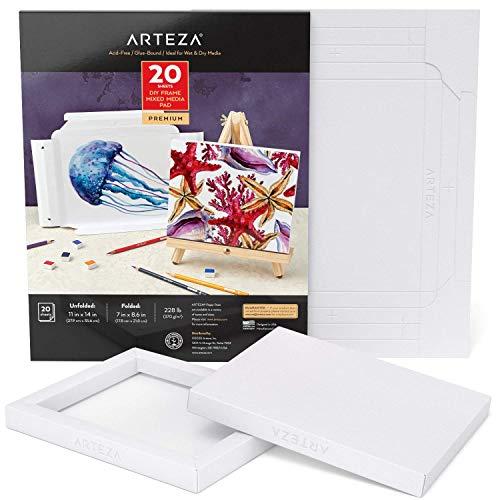 Arteza Faltbarer Mixed Media Papier Leinwandblock, 17.8 x 21.8 cm, 20 Blatt, DIY-Rahmen, schweres Künstler Papier, 370 g/m², säurefrei, Art Block für Malerei und Kunst mit Mischtechniken