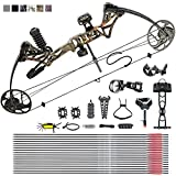 Adult Compound Bow Package,USA Gordon Limbs,Fully Adjustable 19-30' Draw Length Without Bow Press,19-70Lbs Draw Weight,Hunting Compound for Beginners, Right Hand (camo)