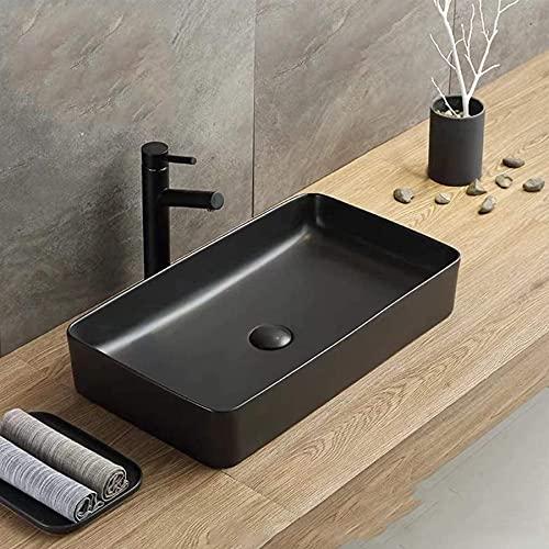 Zenojaku 洗面ボウル 洗面台 陶器製 手洗いボウル ベッセル式 手洗器 排水金具付き ブラック (600*350*130mm)