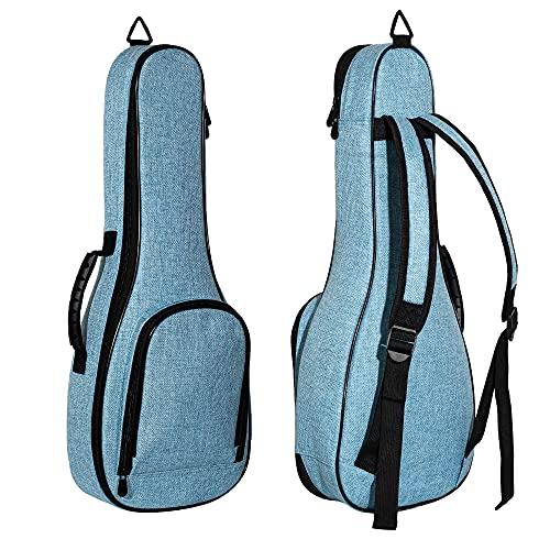 Deviser ukulele case 12MM ABS Handles ukelele case linen fabric 21 inch Soprano ukulele gig bag with 3 Felt picks Blue