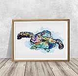 mlpnko DIY Dipingere con i Numeri Tartaruga di Mare Dipingi per Numero Kit con Spazzole e Pigmenti Acrilici Pittura su Tela Fai-da-Te per Adulti