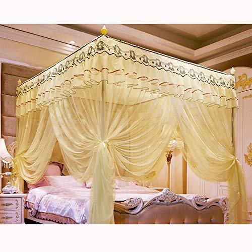KE & LE Moustiquaire Protection Anti-Insecte Rideau Grand Mosquito Netting Rideaux, Style Princesse Chambre Décoration pour Adultes Filles Garçons Pliage Design avec Fond-g W:205cmxh:220cmxd:205cm