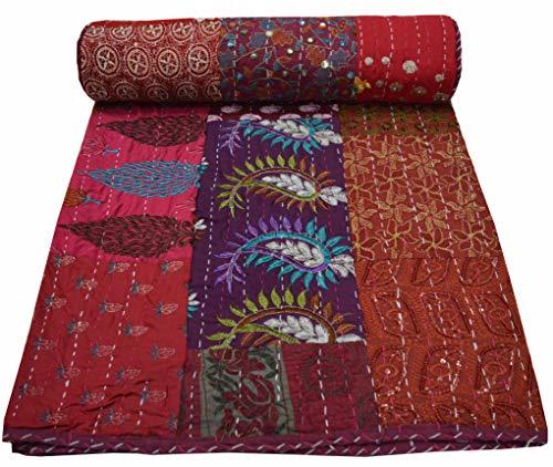 Somukara rote Baumwolldecke für Wohn- und Schlafzimmerdekor 229x274 cm Kingsize-Blätter-Druck Reversible Gesteppte Komfort Doppelbett werfen Bedruckte Decke Tagesdecke Bettwäsche