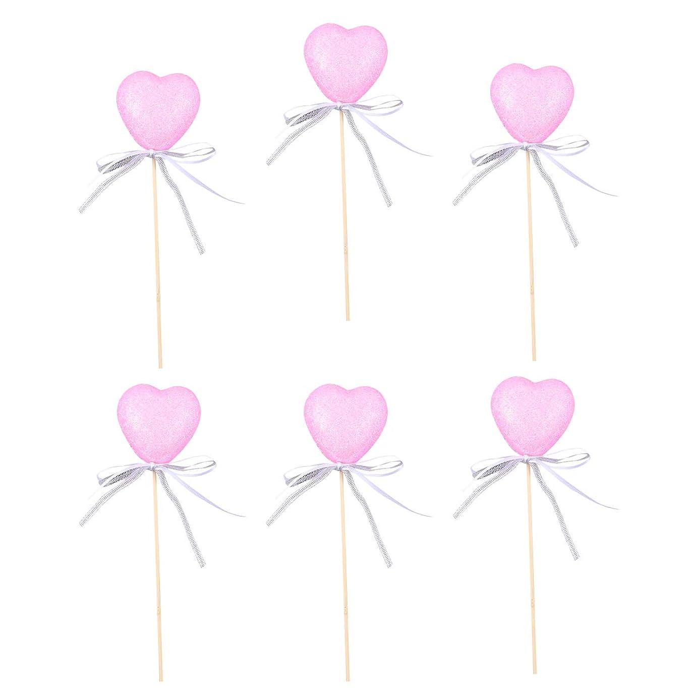 オセアニアに応じて苦しみ6ピースバレンタインパーティーケーキトッパー光沢のあるハートカップケーキ挿入クリエイティブケーキ飾るフルーツピックパーティーの好意(ピンク) バレンタインの飾り
