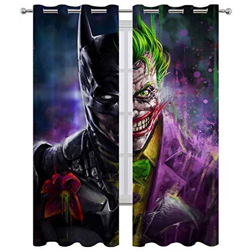 Thermoisolierte Vorhänge mit Ösen, Batman-Joker-Motiv, 160 x 115 cm, 2 Stück