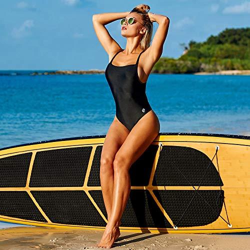 BALEAF Women's Athletic Training Adjustable Strap One Piece Swimsuit Swimwear Bathing Suit Black 34