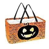 Bolsa de comestibles reutilizable grande, resistente bolsa de compras con parte inferior reforzada y asa (impresión de calabaza de fiesta de Halloween)