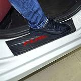 SENYAZON Fusion Decal Sticker Carbon Fibre Vinyl Reflective Car Door Sill Decoration Scuff Plate for Ford Fusion (red)