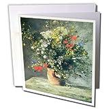 3Drose Renoirs Beautiful Flowers in a Vase Painting - Tarjetas de felicitación, 15,24 x 15,24 cm, juego de 6 (gc_155412_1)