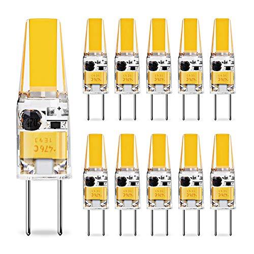 KIGA G4 LED Lampen,3W LED Birnen ersetzt 30W Halogenlampen,300LM,Natürliches Weiß 4500K,AC/DC 12V,Kein Flackern Nicht Dimmbar,G4 LED Glühlampe,LED Leuchtmittel,10er-Pack (Natürliches Weiß)