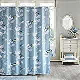 ufengke Duschvorhang Vögel Blätter mit 12 Haken Blau Duschvorhang aus Stoff Polyester Wasserdicht Anti Schimmel für Badezimmer 180x180cm