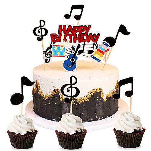 Unimall 13 Stück Glitter Music Cake Topper Musik Note Cupcake Toppers Rockgitarre Geburtstagstorte Topper für Babyparty Musikalisches Thema Geburtstagsfeierzubehör