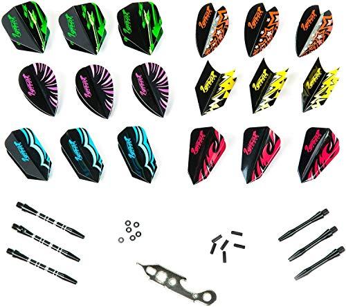 IgnatGames Dart-Flights und Zubehör - 6 Sets Dart-Flights in verschiedenen Formen, 6 Flightprotektoren, 6 Aluminium-Shafts mit O-Ringen und Dartschlüssel | Darts Zubehörset