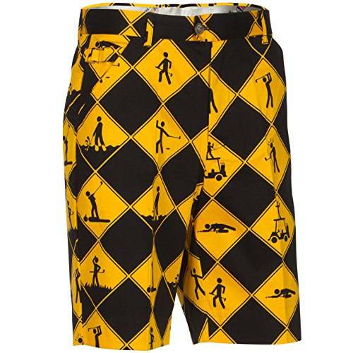 Royal & Awesome Swing Under Construction Patterned Mens Golf Shorts