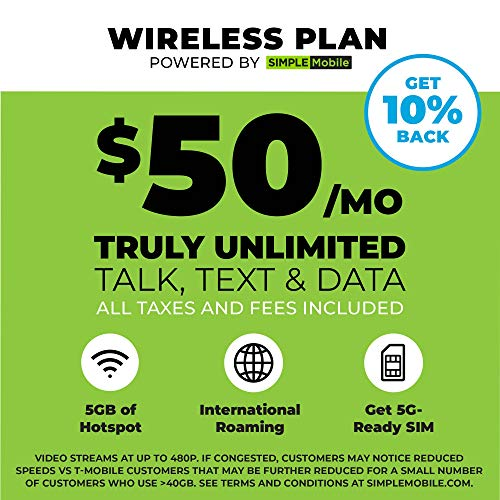 """$50 Monthly Carrier Subscription (toward Simple Mobile """"Truly Unlimited"""" Plan) + SIM Card"""