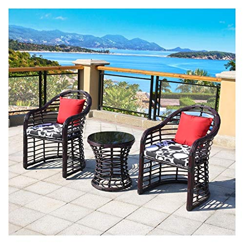 BDBT Patio Furniture Garden Table and Chairs Set Glass Coffee Table Conversation for Outdoor Garden Poolside (Color : A)