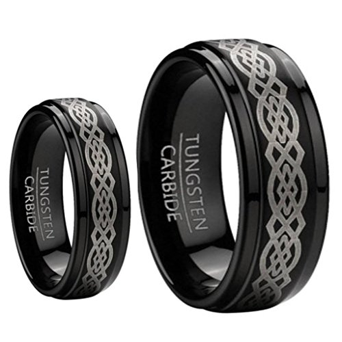 Ring for Men and Ring for Women 8MM & 6MM Black Tungsten Carbide Wedding and engagement Bridal Band Ring Sets w/Laser Etched Celtic Design