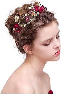 Ruikey Tiaras De Novia Rojas Diademas Mujer Boda Diademas De Flores Joyas Decoración Cinta para Boda