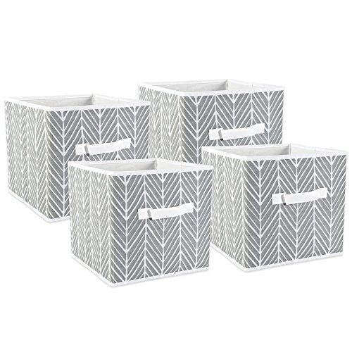 DII Foldable Polyester Herringbone Bin, Large Set, 11x11x11 Cube, Gray, 4 Count