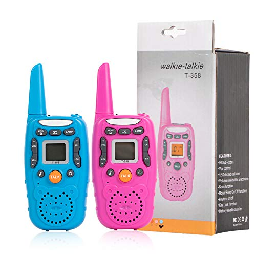 Walkie Talkies for Kids,Toys for 3-12 Year Old Kids 22 Channels 2 Way Radio Toy with Backlit LCD Flashlight, 3 Miles Range for Outside, Camping, Hiking (Pink Or Blue Random Delivery)
