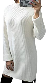 Women Crewneck Long Sleeve Knitted Casual Solid Sweater Mini Dress