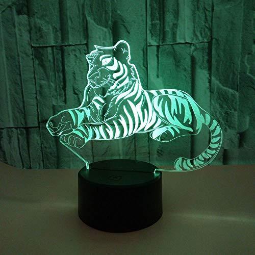 CUIRUI Ilusión 3D Animal Tiger luz de la noche, 7 cambio de