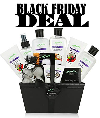 Premium Deluxe Bath & Body Gift Baskets. 18 PC Large Spa Basket for Birthday Gifts Holiday Gift etc. #1 Spa Gift Basket for Women, Teens! Women Gift Basket Ideal for Mothers Day Gift for Mom!