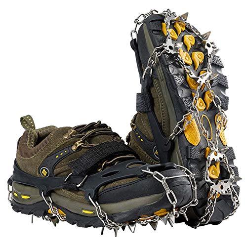 hengguang Ice Cleats Crampons Traction, 19 Dientes De Acero Inoxidable Tacos De Tracción para Botas De Nieve Y Zapatos para Caminar, Trotar, Escalar O Caminar sobre Nieve Y Hielo XL/Negro