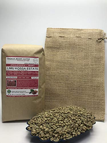 5 Pounds – African - Ethiopia Organic Limu Natural - Unroasted Arabica Green Coffee Beans – Ethiopian Heirloom – Drying Process Natural on Raised Beds – Limu Kossa Estate - Includes Burlap Bag