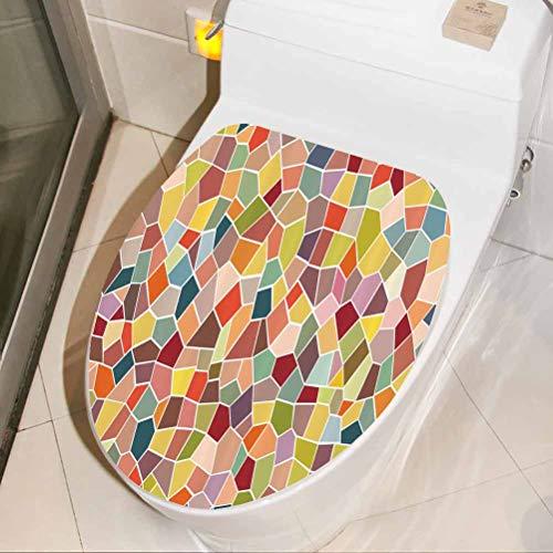 Toilet Lid Sticker Motley Retro Mosaic 3D Wall Stickers Self Adhesive for Bathroom Seat, W30xH36 cm