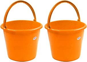 Princeware Frosty Bucket Having Capacity of 5 Ltrs Each in Set of Two Available in Orange, Plain Bucket, Strong and Sturdy