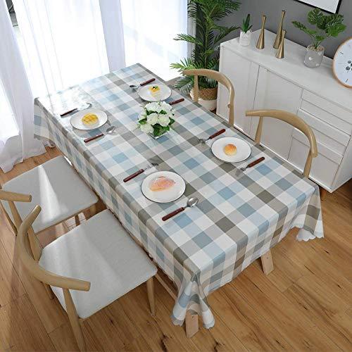 mxjxj Tischdecke wasserdichte Tischabdeckung, wixierbare PVC-rechteckige Tischdecke, einfach Karierter Tischtuch für Innen- und Außenbereich, Heimdekoration (Color : Blue, Size : 120+#215;160cm)