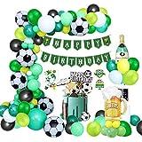 Fußball Geburtstagsdeko 90 StückJungen Luftballons Geburtstag Dekorationen Grün mit Happy Birthday Girlande Banner, Folien Luftballons and Cake Topper für Kindergeburtstag Deko, Fußballfan Themenfeier