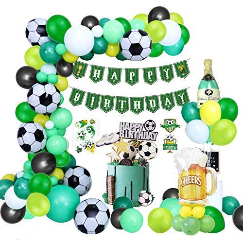 90 globos para decoración de cumpleaños con diseño de balón de fútbol, color verde con guirnalda Happy Birthday, globos y decoración para tartas de cumpleaños infantiles, para fiestas temáticas