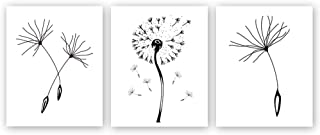 Chsdec Unframed Abstract Flower Art Print Nordic Style Black&White Dandelions Art Wall Painting, Set of 3(8''X10'') Canvas Poster for Modern Home Decoration