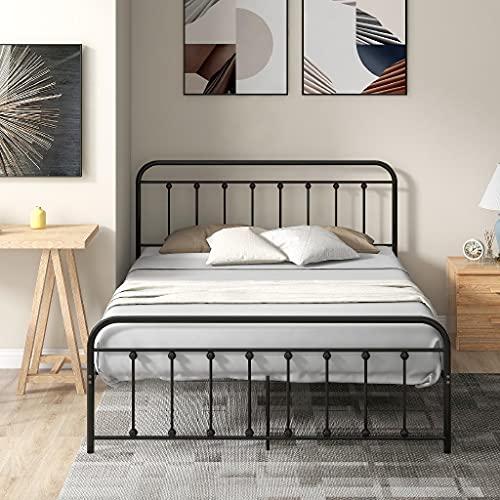Black Metal Bed Frame, Double Bed Modern 4ft6 Platform Mattress Foundation, European Style with Headboard & Footboard, 135*190 CM