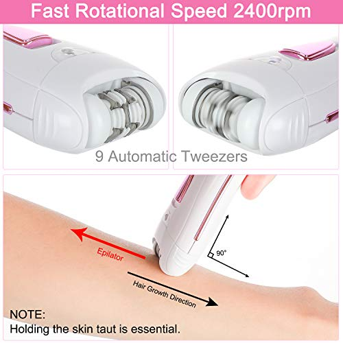 ElectriBrite Facial Hair Removal Epilators for Women Cordless Electric Tweezers Ladies Face Epilator Rechargeable Hair Remover for Upper Lips Chin Arms Legs Bikini