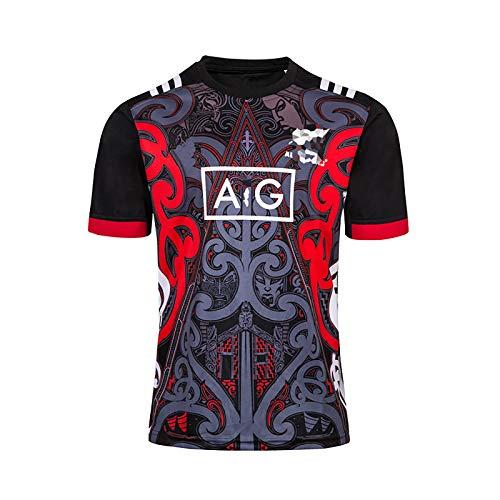 SKMYTE Jersey de Rugby de la Jeunesse, adapté à la Nouvelle-Zélande Maori Match T-Shirt Rugby T-Shirt de Rugby, Chemise de Rugby de Polyester, Respirant et séchage Rapide XL