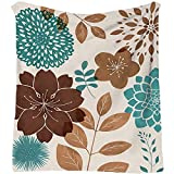 Floral Throw Blankets for Couch 50'x60' Teal and Brown Blankets for Bedroom Living Room Decoratives Ultra Soft Cozy Blanket for Indoor Outdoor Flannel Blanket for All Season